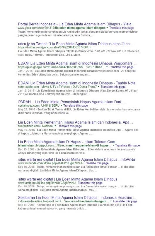 Google Search Eden meminta pemerintah menghapus agama Islam (1)