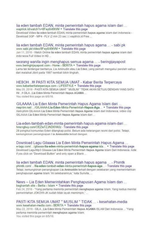 Google Search Eden meminta pemerintah menghapus agama Islam (2)