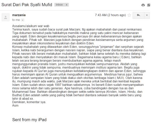 Surat dari Syafii Mufid