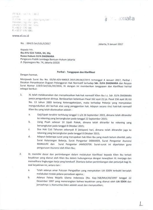 Surat Jawaban dari PT. XL Axiata (hal.1)