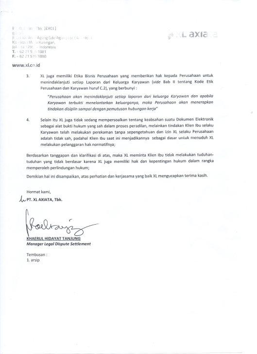 Surat Jawaban dari PT. XL Axiata (hal.2)